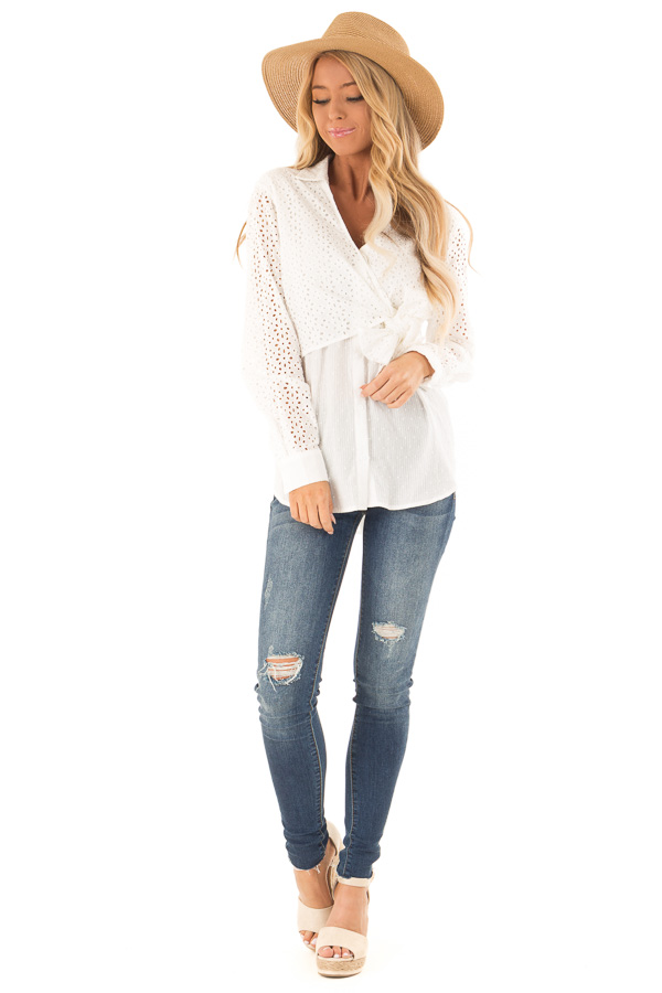 05661e19e67f11 ... Off White V Neck Collared Blouse with Front Tie Detail front full body  ...