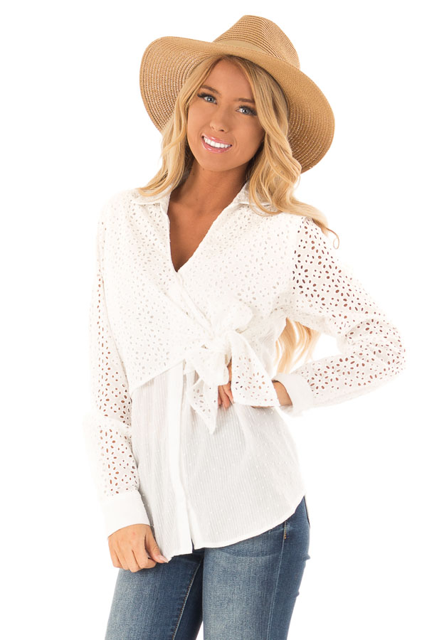 6097de94998 Off White V Neck Collared Blouse with Front Tie Detail - Lime Lush ...