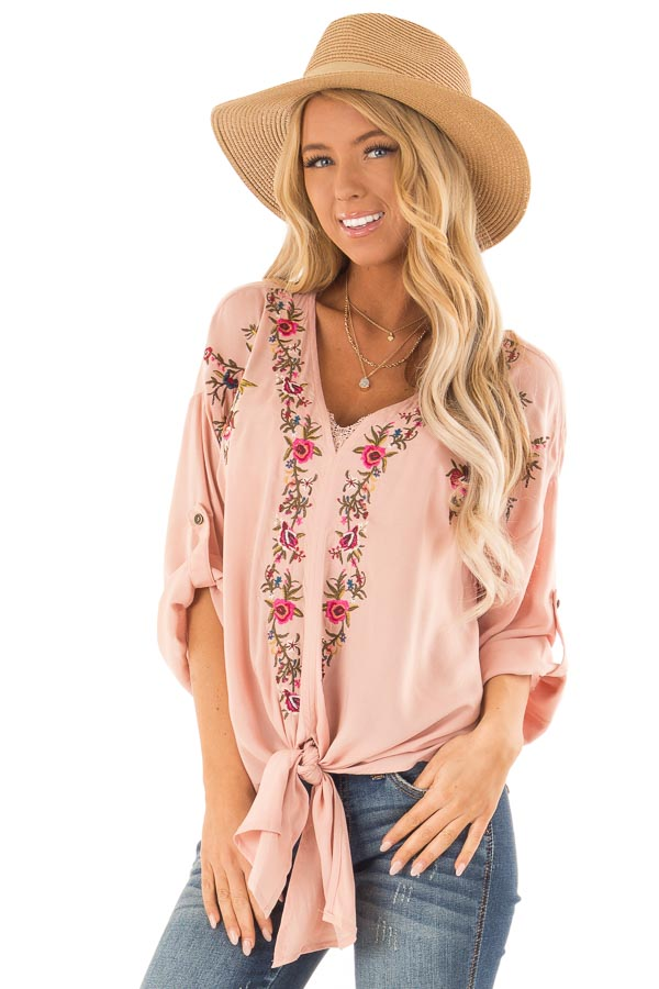 Blush V Neck Floral Embroidered Top with Front Tie front close up