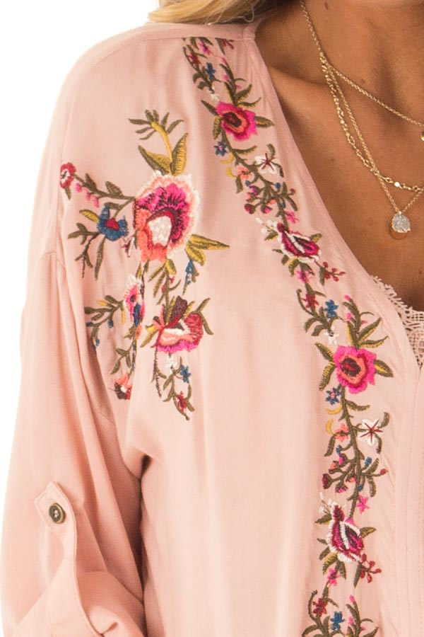 Blush V Neck Floral Embroidered Top with Front Tie detail