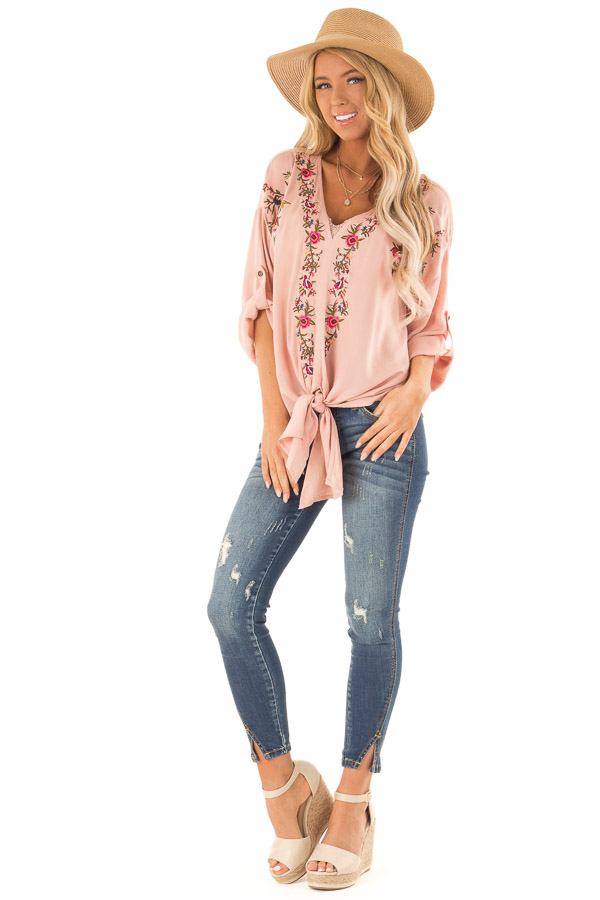 Blush V Neck Floral Embroidered Top with Front Tie front full body