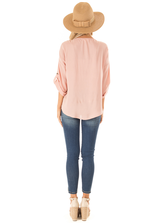 Blush V Neck Floral Embroidered Top with Front Tie back full body