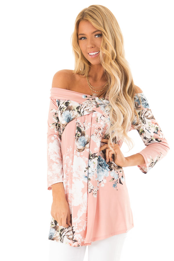 363a358fa0521 Light Peach Slinky Floral Print Off Shoulder Cross Over Top front close up