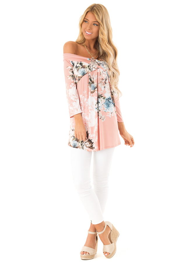 b277df915bb47 ... Light Peach Slinky Floral Print Off Shoulder Cross Over Top front full  body ...
