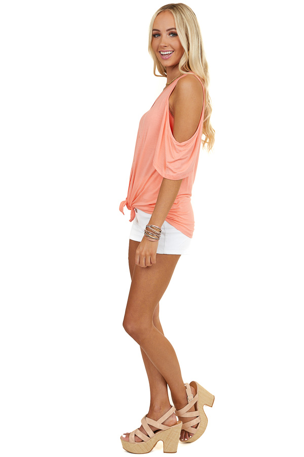 Orange Creamsicle Cold Shoulder Button Up Top with Front Tie