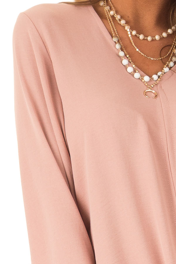 Dusty Blush V Neck Long Bell Sleeve Top with Front Tie detail