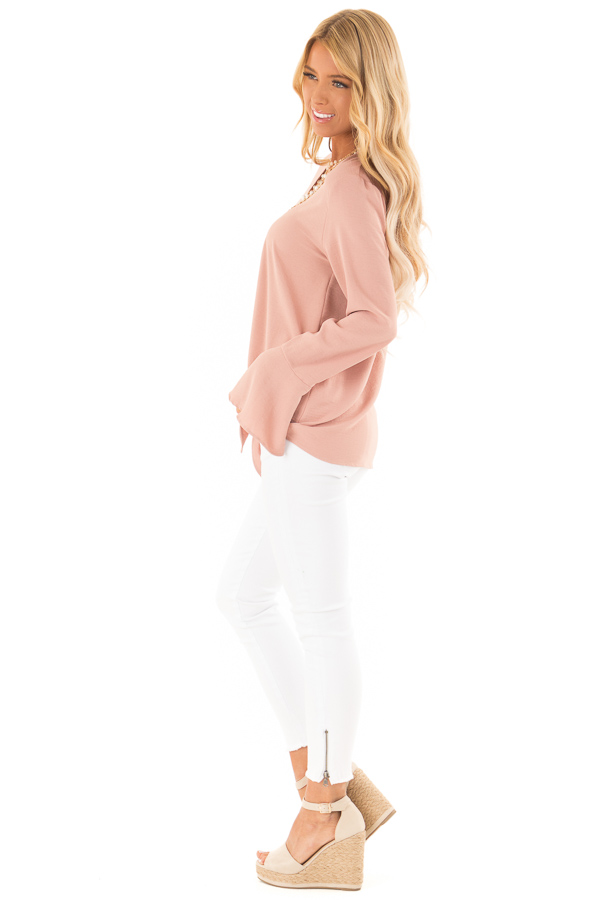 Dusty Blush V Neck Long Bell Sleeve Top with Front Tie side full body