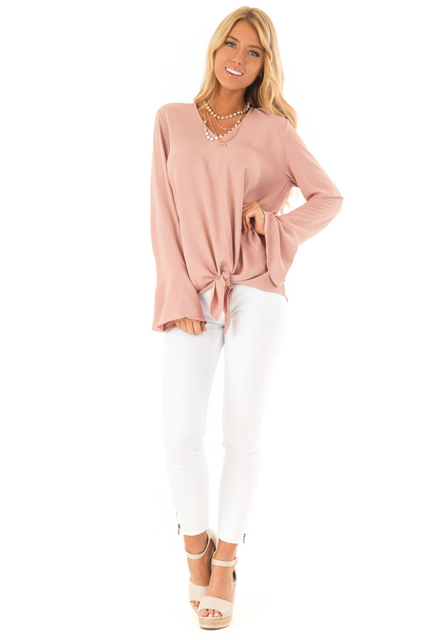 Dusty Blush V Neck Long Bell Sleeve Top with Front Tie front full body