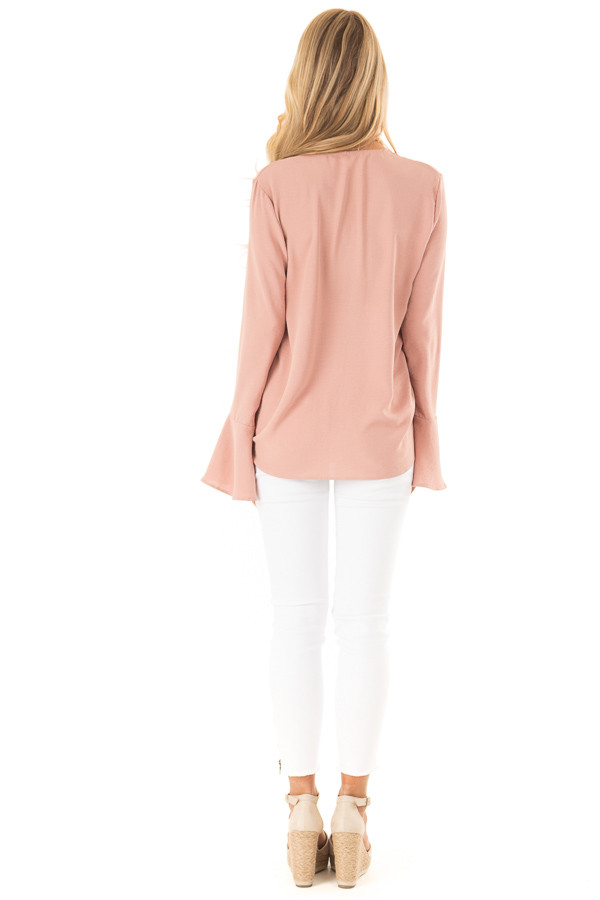 Dusty Blush V Neck Long Bell Sleeve Top with Front Tie back full body