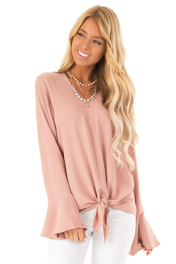 Dusty Blush V Neck Long Bell Sleeve Top with Front Tie front close up