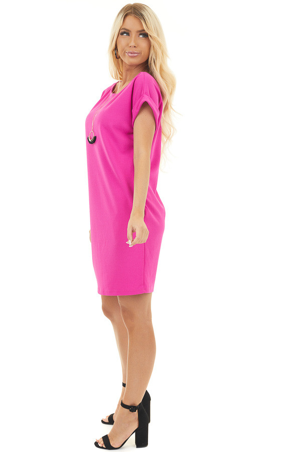 Fuchsia Shift Dress with Short Cuffed Sleeves and Pockets