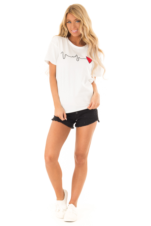 Ivory Short Sleeve Heart Beat Embroidery Tee front full body