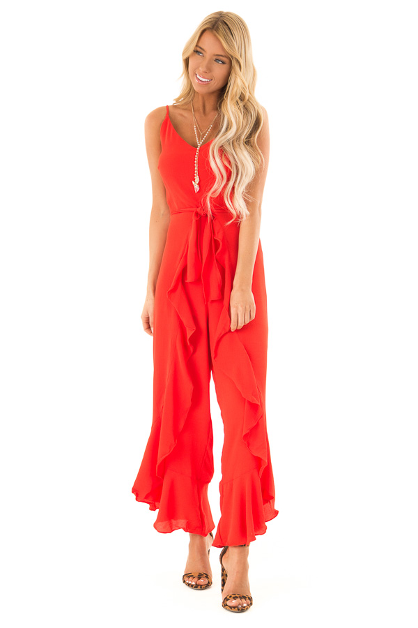 019d15bee486 ... Coral Red Cami Jumpsuit with Ruffled Wrap Legs and Front Tie front full  body ...
