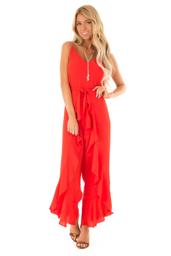 c9792b1803f4 Coral Red Cami Jumpsuit with Ruffled Wrap Legs and Front Tie front full body