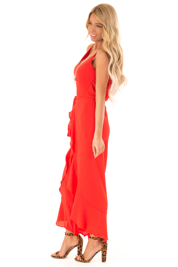 394a8fd09db ... Coral Red Cami Jumpsuit with Ruffled Wrap Legs and Front Tie side full  body ...