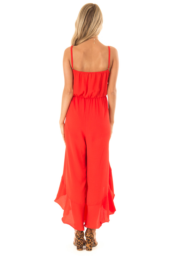 82e0f295833 ... Coral Red Cami Jumpsuit with Ruffled Wrap Legs and Front Tie back full  body ...