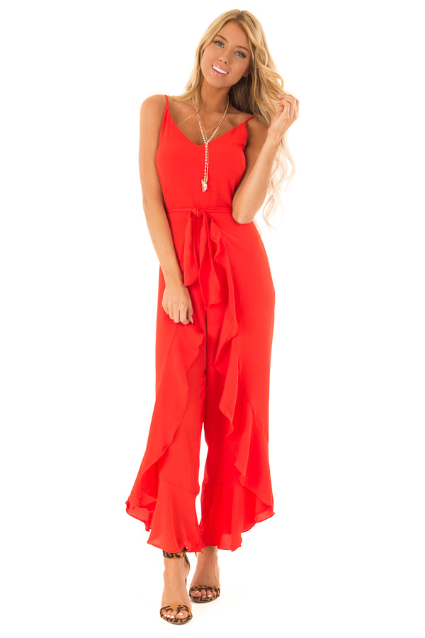 Coral Red Cami Jumpsuit with Ruffled Wrap Legs and Front Tie front full body