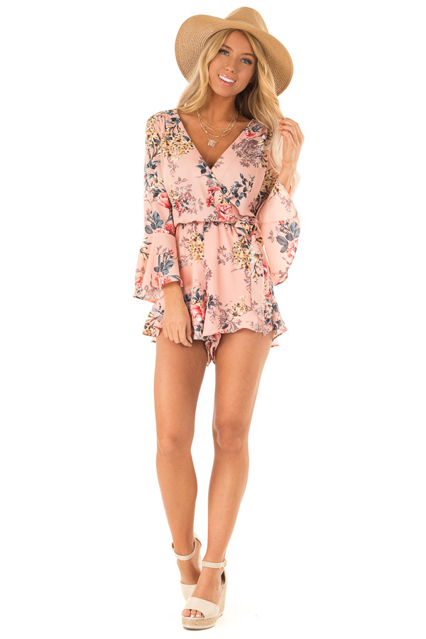 Blush Floral Wrap Style Romper with 3/4 Flare Sleeves front full body