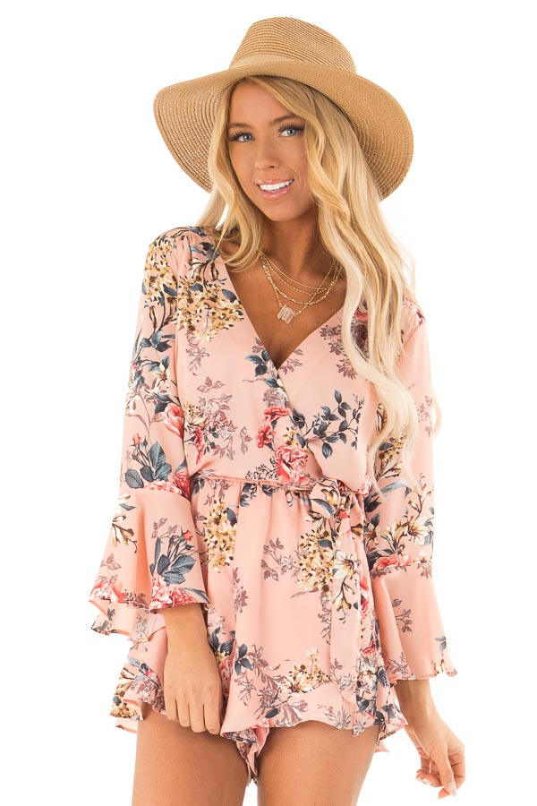 Blush Floral Wrap Style Romper with 3/4 Flare Sleeves front close up