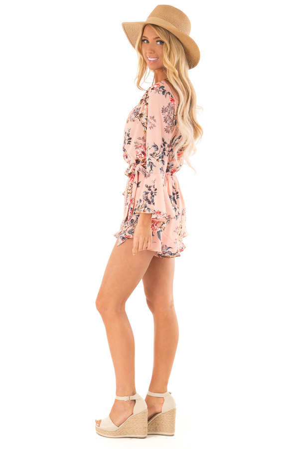 Blush Floral Wrap Style Romper with 3/4 Flare Sleeves side full body