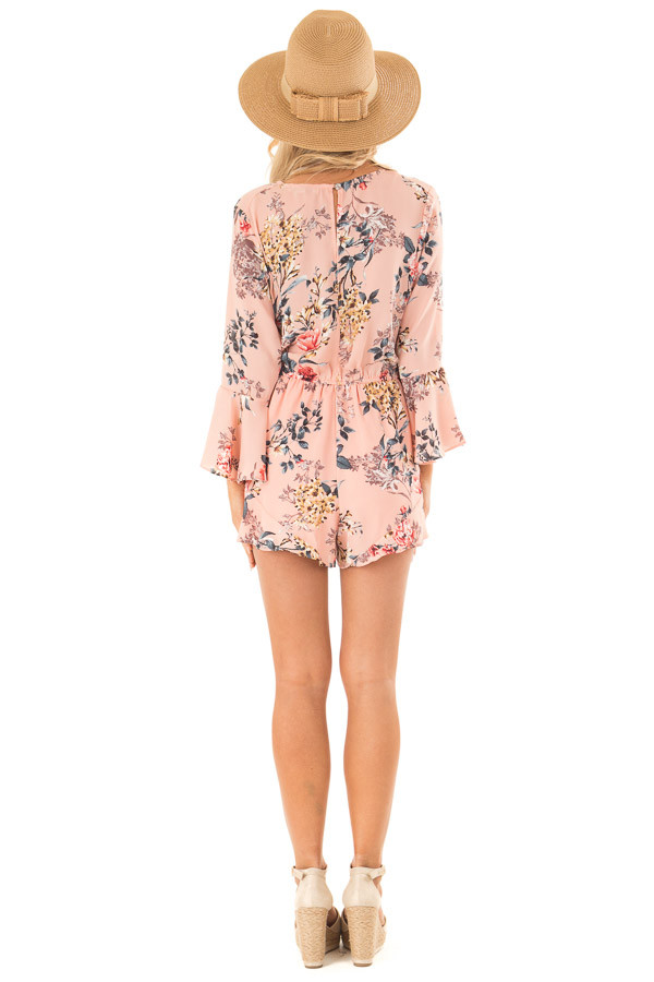Blush Floral Wrap Style Romper with 3/4 Flare Sleeves back full body