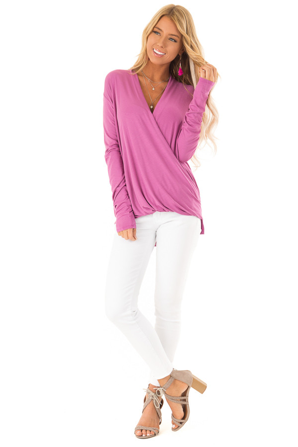 Crushed Berry Surpliced Bamboo Long Sleeve Top front full body