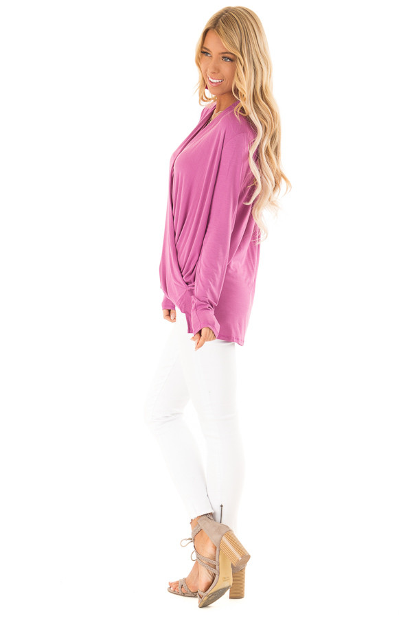 Crushed Berry Surpliced Bamboo Long Sleeve Top side full body