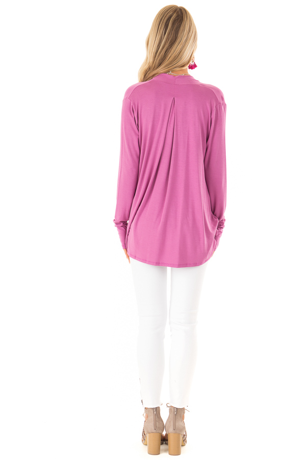 Crushed Berry Surpliced Bamboo Long Sleeve Top back full body