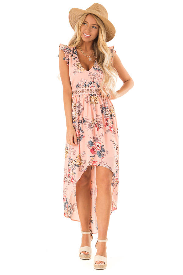 Peachy Pink Floral Print V Neck Dress with High Low Hemline front full body