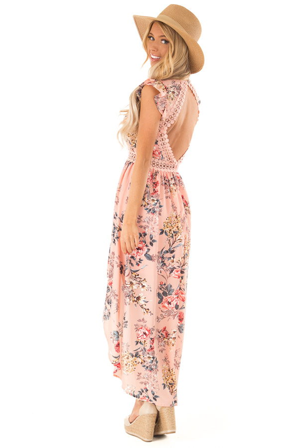Peachy Pink Floral Print V Neck Dress with High Low Hemline side full body