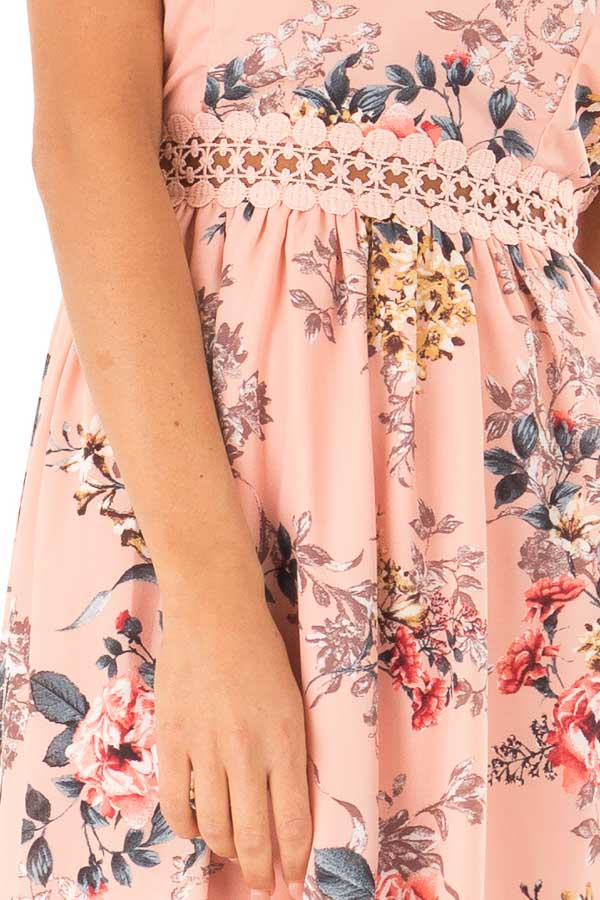 Peachy Pink Floral Print V Neck Dress with High Low Hemline detail