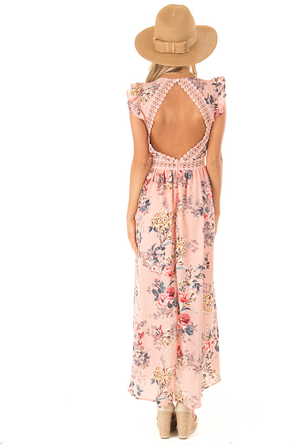 Peachy Pink Floral Print V Neck Dress with High Low Hemline back full body