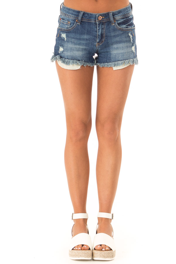 Dark Wash Distressed Frayed Hem Shorts with Pockets front view