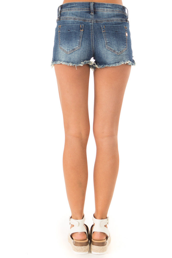Dark Wash Distressed Frayed Hem Shorts with Pockets back view