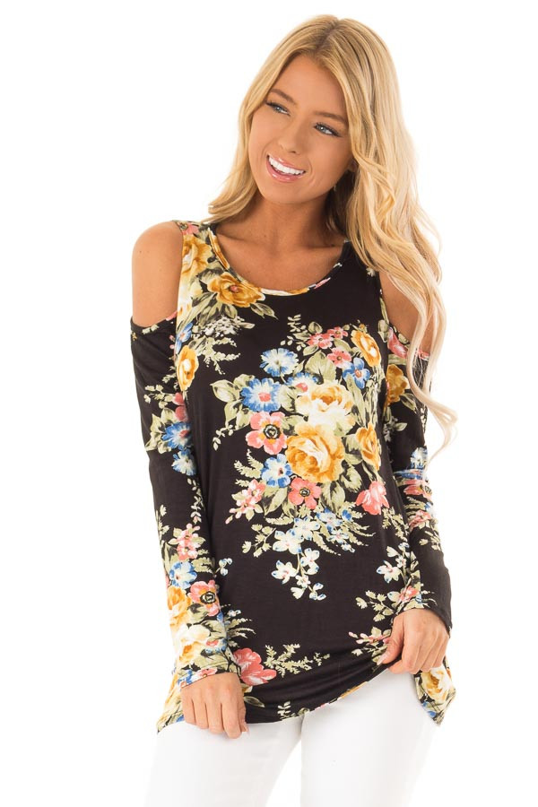 dd3010ecd1ccea Jet Black and Floral Cold Shoulder Top with Long Sleeves - Lime Lush ...