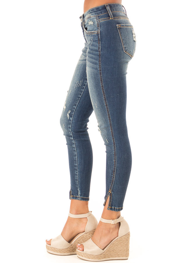 Dark Wash Distressed Twisted Skinny Denim Pants side view