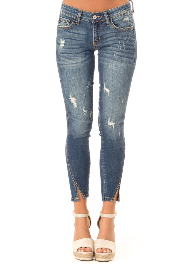 Dark Wash Distressed Twisted Skinny Denim Pants front view