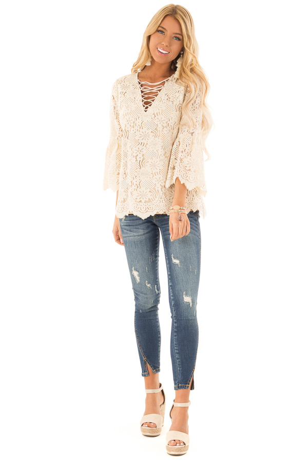Dark Wash Distressed Twisted Skinny Denim Pants front full body
