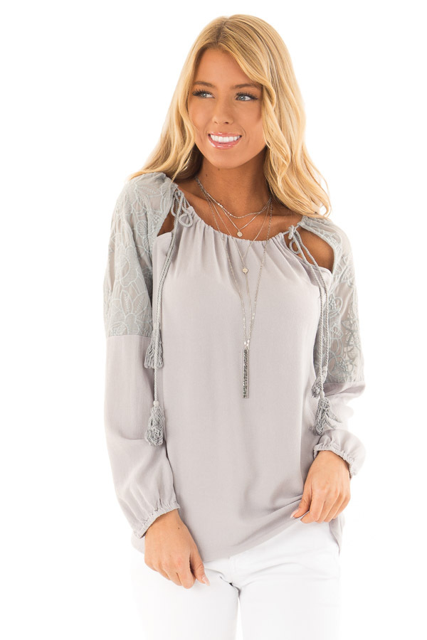 b83d8250a6e977 Dove Grey Floral Embroidered Peasant Style Top - Lime Lush Boutique