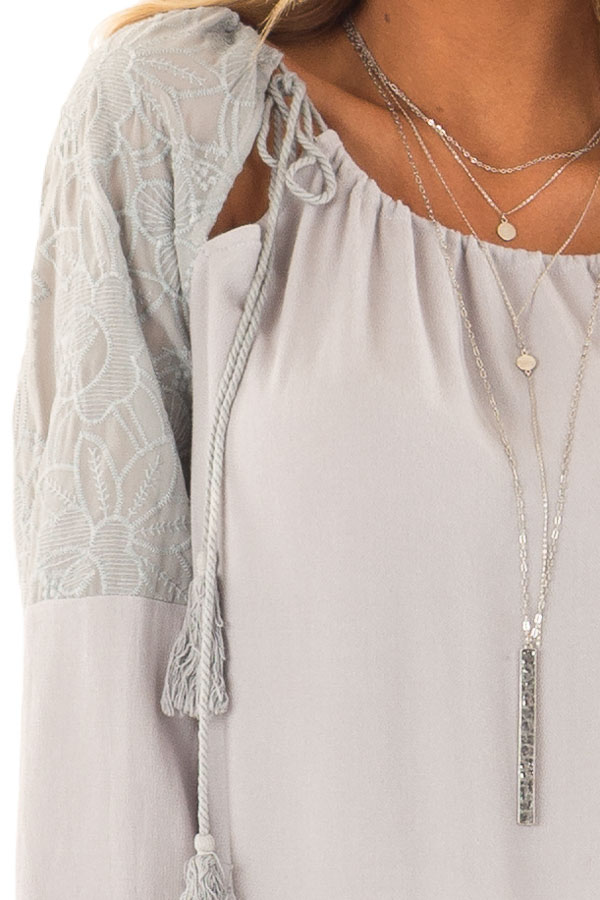 Dove Grey Floral Embroidered Peasant Style Top detail