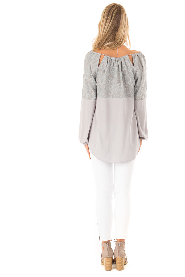 Dove Grey Floral Embroidered Peasant Style Top back full body