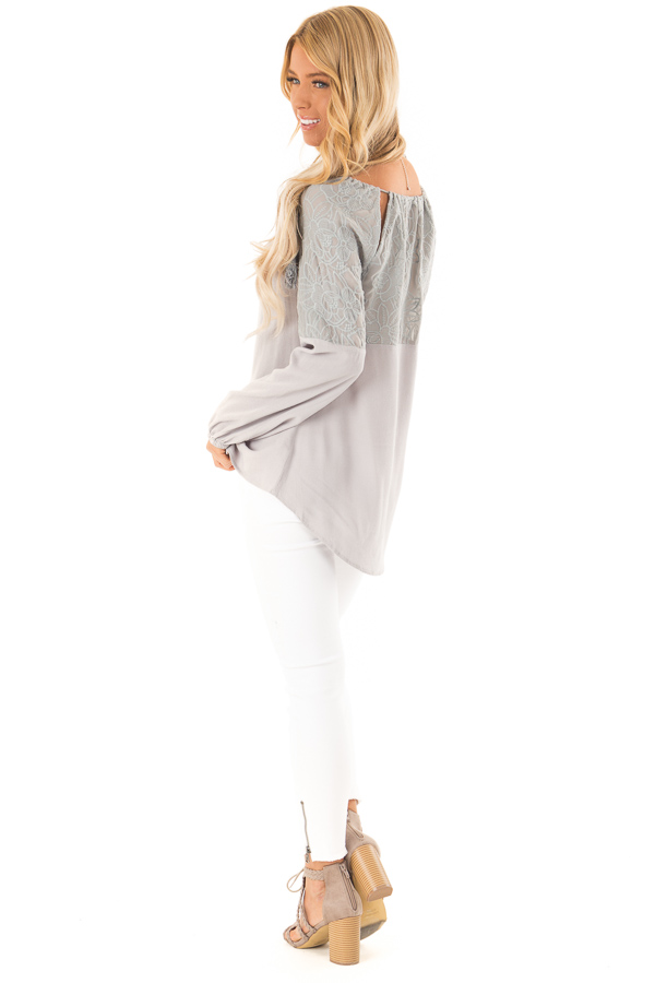Dove Grey Floral Embroidered Peasant Style Top back side full body