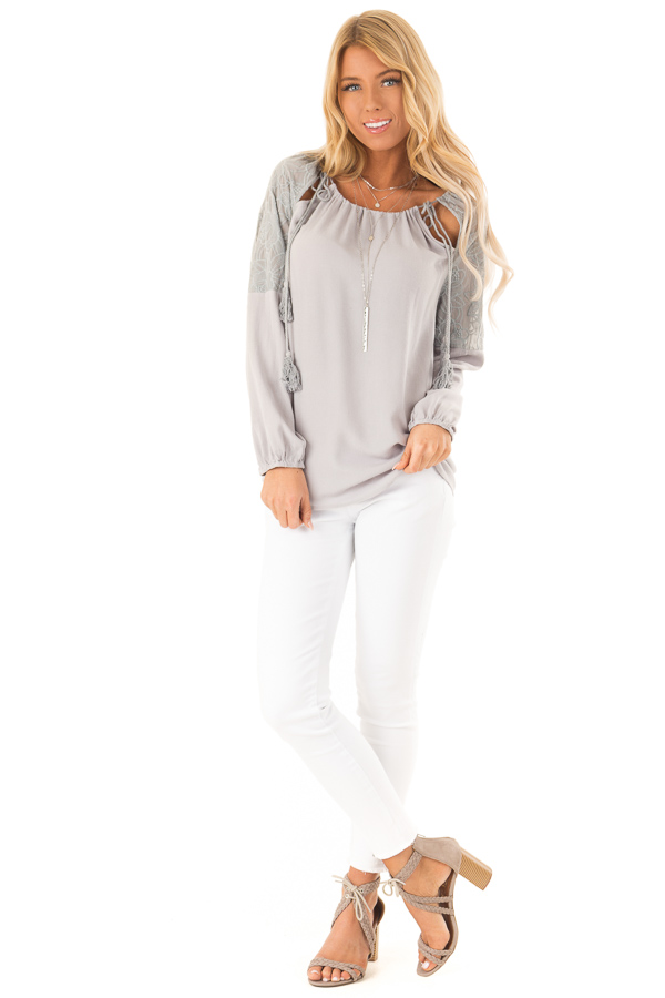 Dove Grey Floral Embroidered Peasant Style Top front full body