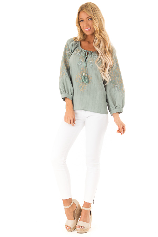 bc96292db30e3f Dusty Teal Embroidered Floral Long Sleeve Peasant Top front full body