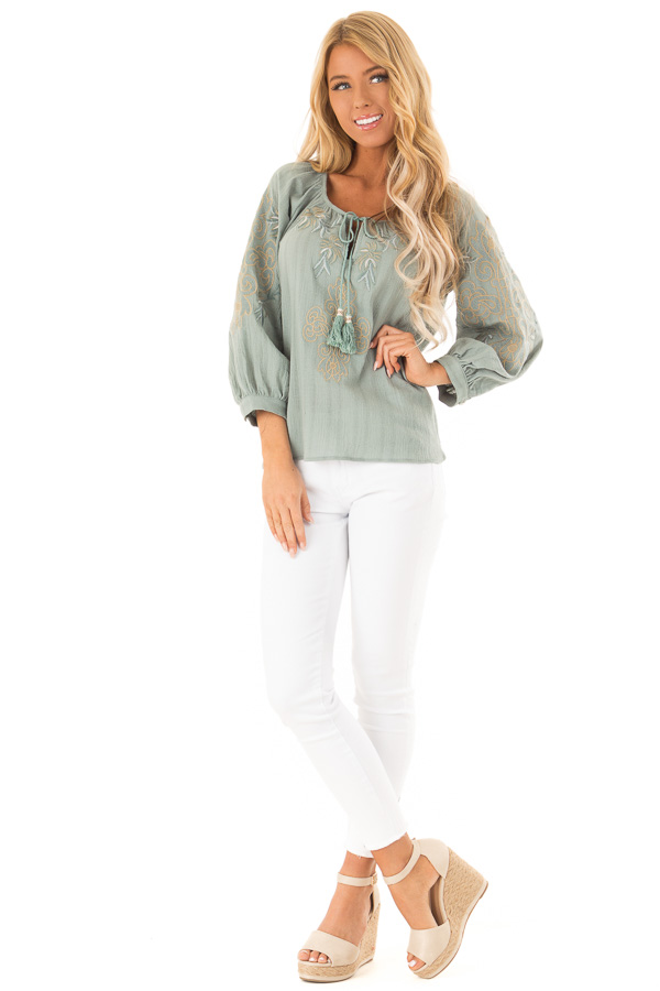 Dusty Teal Embroidered Floral Long Sleeve Peasant Top front full body