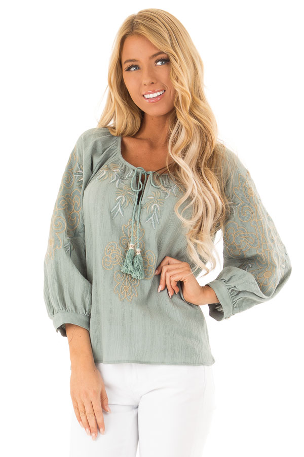 Dusty Teal Embroidered Floral Long Sleeve Peasant Top front close up