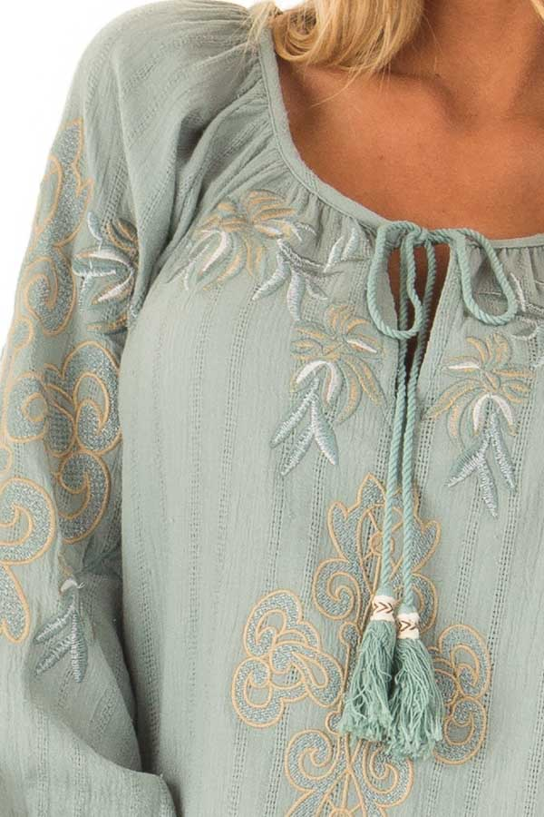 Dusty Teal Embroidered Floral Long Sleeve Peasant Top detail