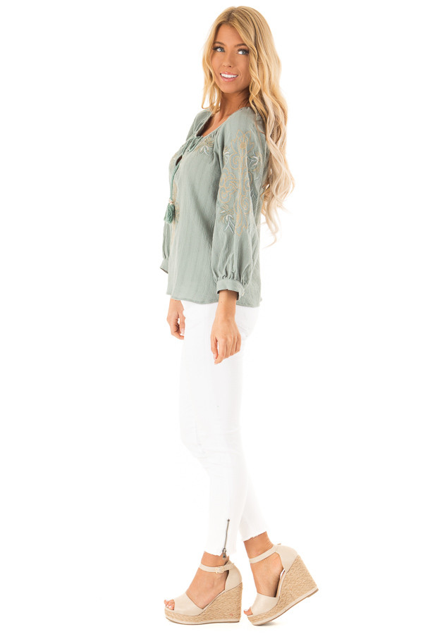 Dusty Teal Embroidered Floral Long Sleeve Peasant Top side full body