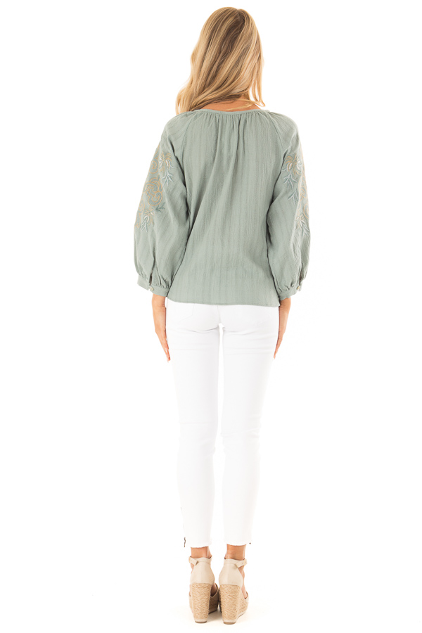 Dusty Teal Embroidered Floral Long Sleeve Peasant Top back full body