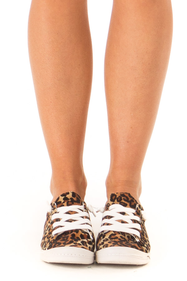 Chestnut Leopard Print Casual Low Top Sneakers front view